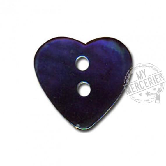 Bouton Nacre en forme de Coeur couleur Marine