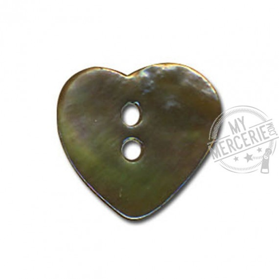 Bouton Nacre en forme de Coeur couleur Kaki