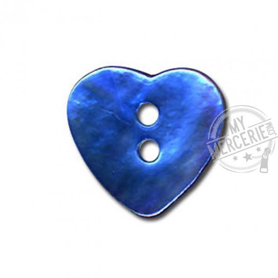 Bouton Nacre en forme de Coeur couleur Turquoise