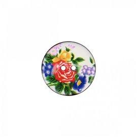 Bouton coco décoré grosses fleurs 34cm