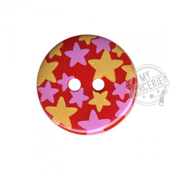 Bouton rond motif Etoiles couleur Rouge