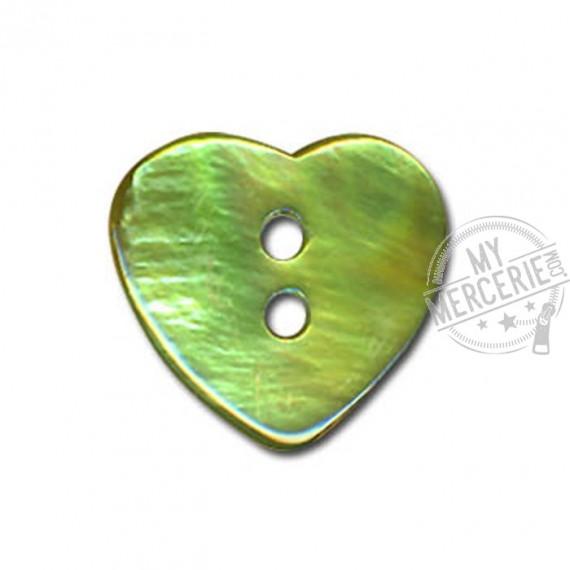 Bouton Nacre en forme de Coeur couleur Jade