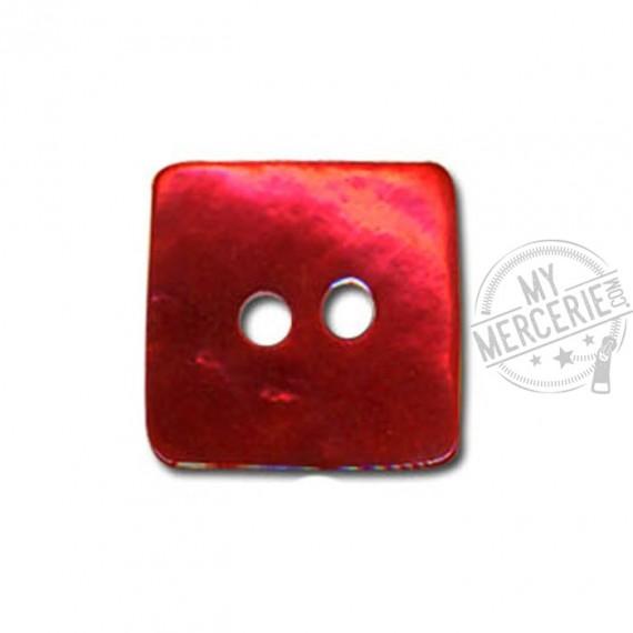 Bouton carré en Nacre couleur Rouge