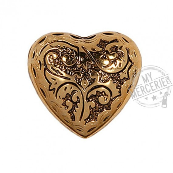 Bouton Coeur métal or en taille 23