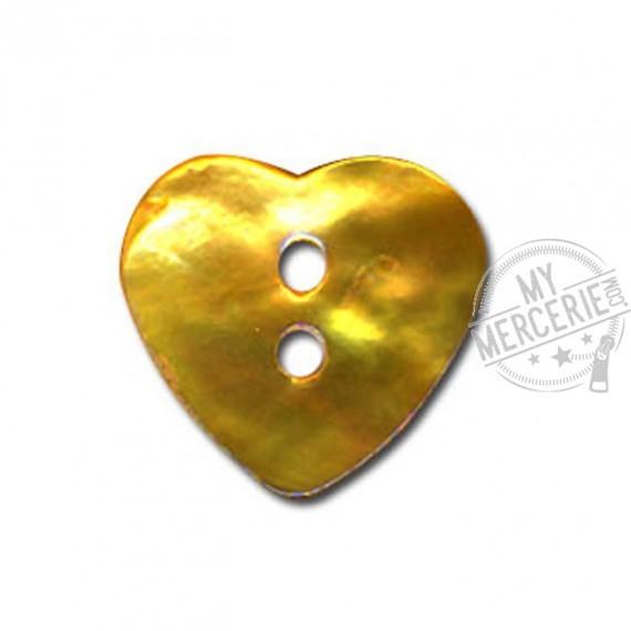 Bouton Nacre en forme de Coeur couleur Jaune