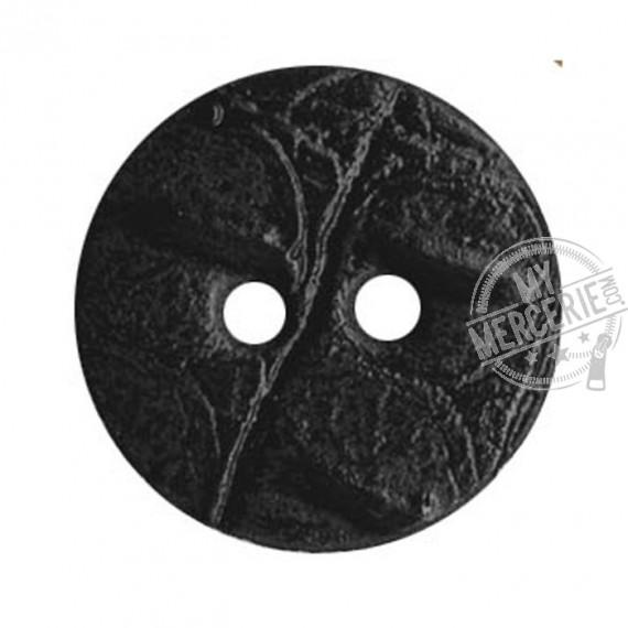 Bouton rond en Cuir couleur Noir