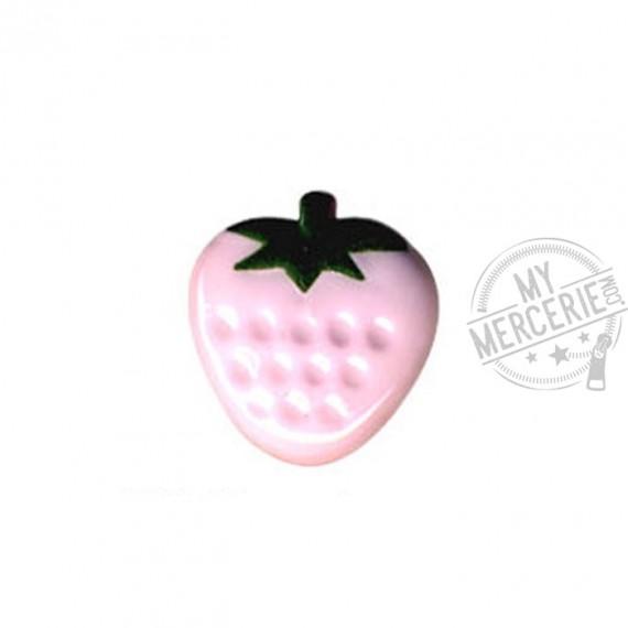 Bouton en forme de Fraise couleur Rose Layette