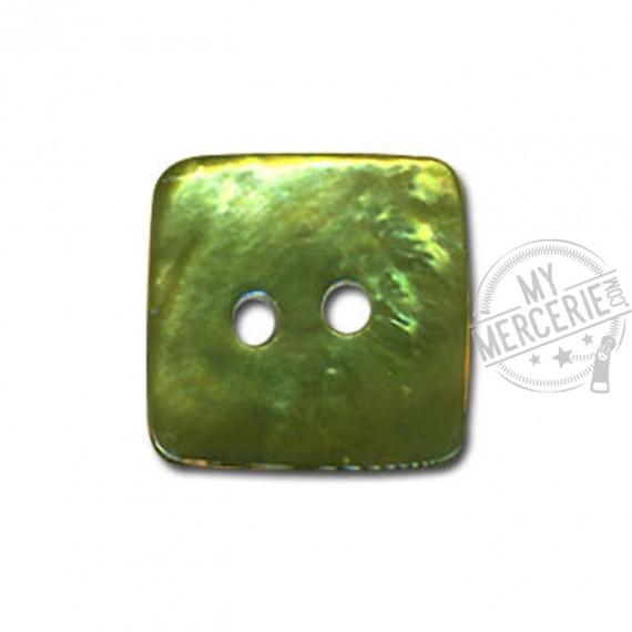 Bouton carré en Nacre couleur Jade
