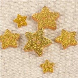 Bouton étoile paillettée jaune 11cm