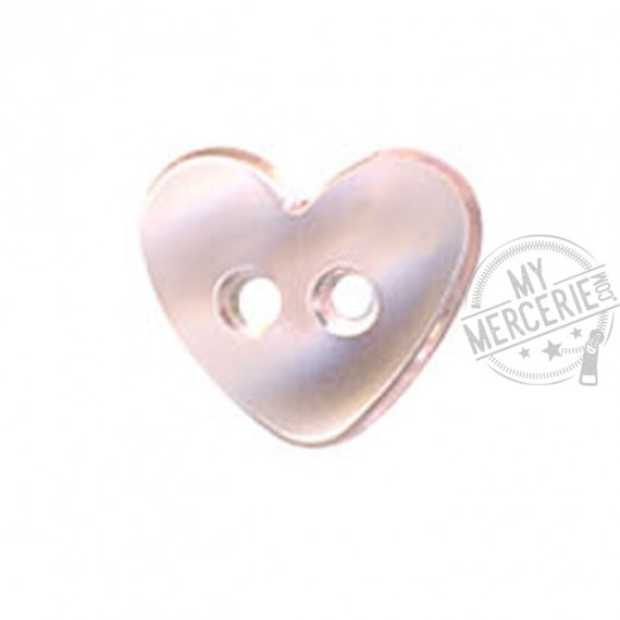 Bouton Coeur translucide couleur Rose