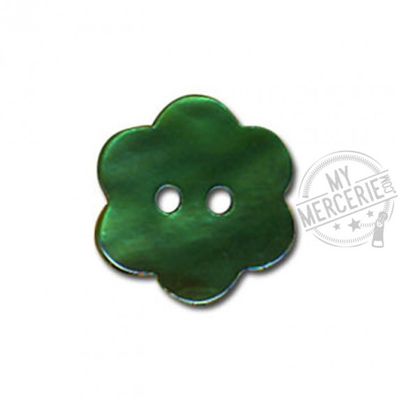 Bouton Fleur en Nacre couleur Vert Sapin