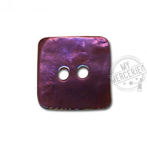 Bouton carré en Nacre couleur Prune