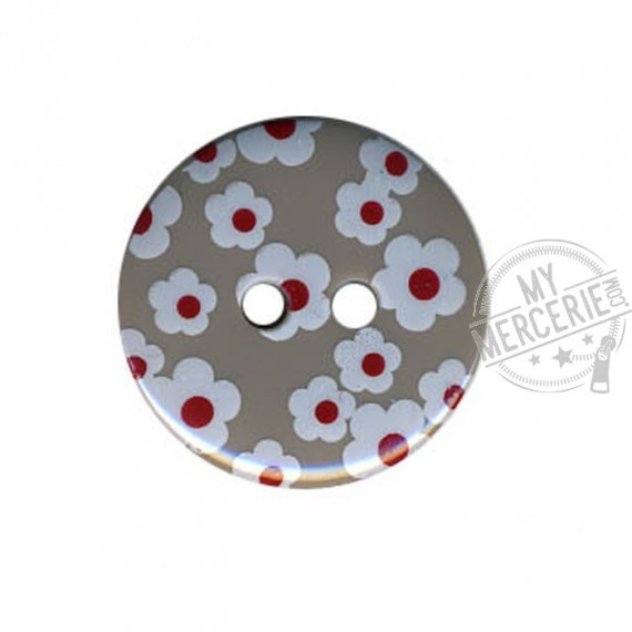 Bouton rond motif Fleur couleur Gris
