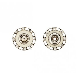 Boutons pressions strass 24mm couleur ivoire