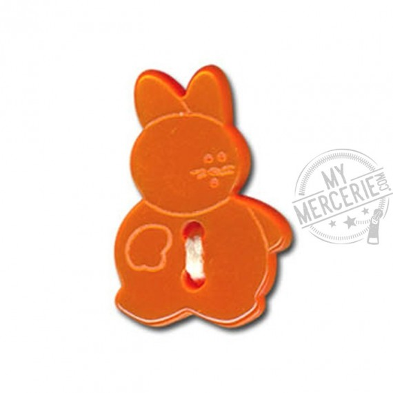 Bouton en forme de Lapin couleur Orange
