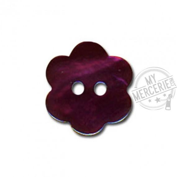 Bouton Fleur en Nacre couleur Bordeaux