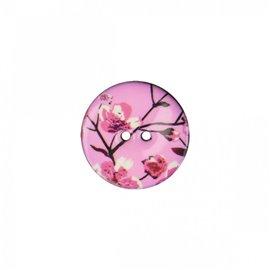 Bouton coco décoré fleurs de cerisiers 23cm