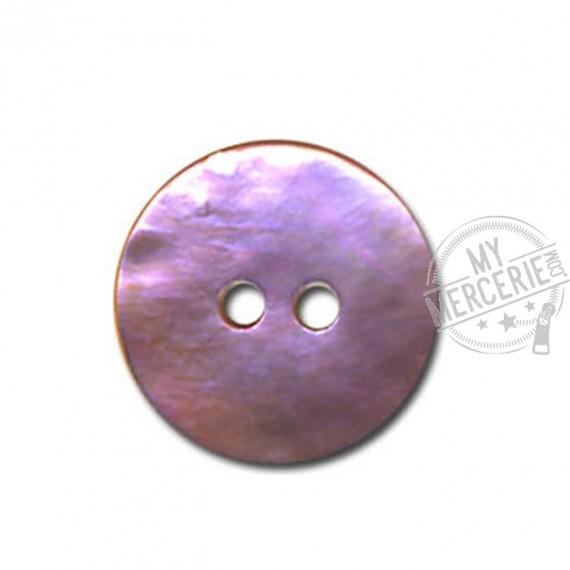Bouton plat en nacre couleur Mauve