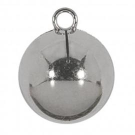 Bouton boule en métal argenté