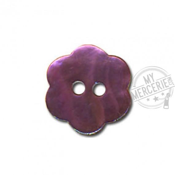 Bouton Fleur en Nacre couleur Prune