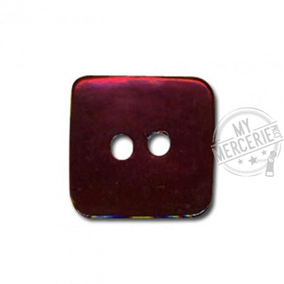 Bouton carré en Nacre couleur Bordeaux