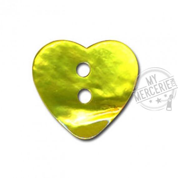 Bouton Nacre en forme de Coeur couleur Vert Anis