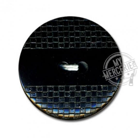 Bouton polyester effet quadrillé et lisse couleur Noir