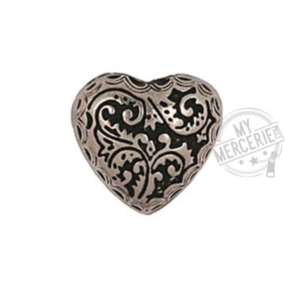 Bouton coeur métal argenté en taille 15