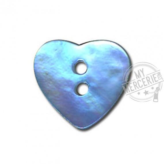 Bouton Nacre en forme de Coeur couleur Bleu