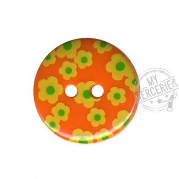 Bouton rond motif Fleur couleur Orange