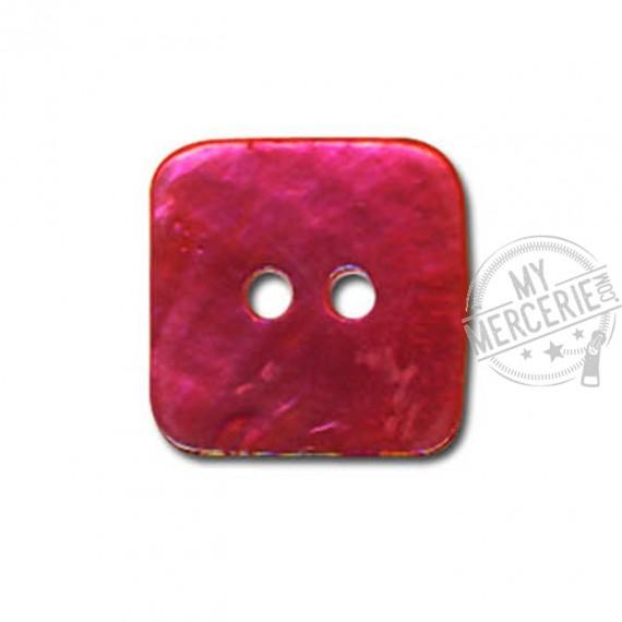 Bouton carré en Nacre couleur Fuchsia