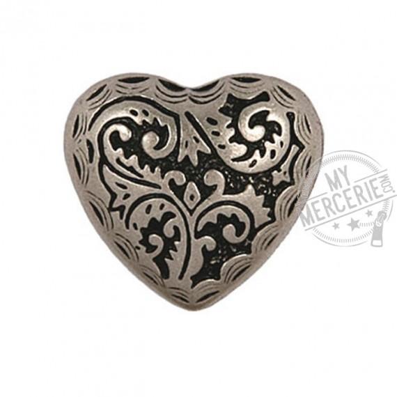 Bouton Coeur métal argenté en taille 23