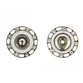 Boutons pressions strass 24mm couleur argent