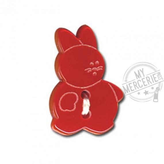 Bouton en forme de Lapin couleur Rouge