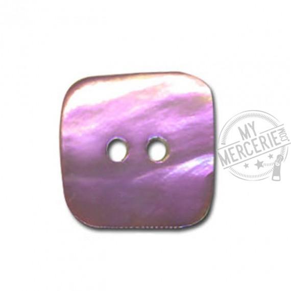 Bouton carré en Nacre couleur Mauve