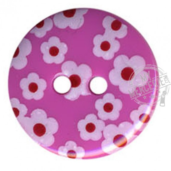 Bouton rond motif Fleur couleur FUchsia