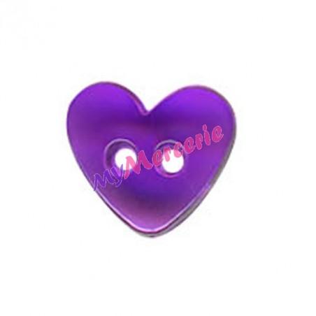 Lot de 6 boutons Coeur translucide couleur Mauvre