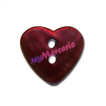 Lot de 6 boutons Nacre en forme de Coeur couleur Bordeaux