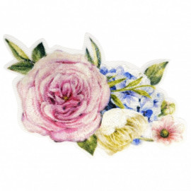 Ecusson thermocollant bouquet de roses avec lilas 5,5 cm x 7,5 cm