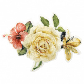Ecusson thermocollant bouquet de roses avec hibiscus et lys 5,5 cm x 7 cm