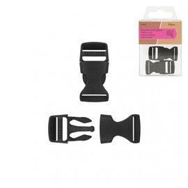 Lot de 2 boucles anti-glisse plastique noir 38mm x 19mm