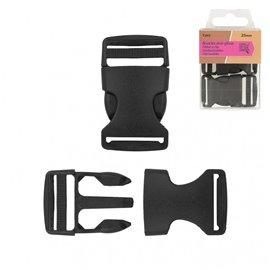 Lot de 2 boucles anti-glisse plastique noir 52mm x 30mm
