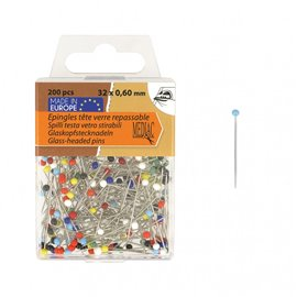 Epingles tête de verre 200 pièces multicolore 6mm