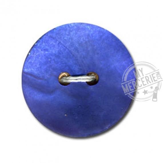 Bouton en Nacre Mate couleur Bleu Wagon
