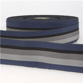 Disquette 25m ruban gros grain stripes 25mm Marine