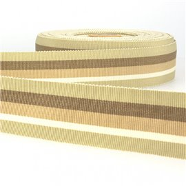 Disquette 25m ruban gros grain stripes 25mm Beige