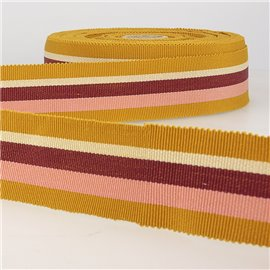 Disquette 25m ruban gros grain stripes 25mm Moutarde