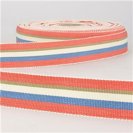 Disquette 25m ruban gros grain stripes 25mm Rouge