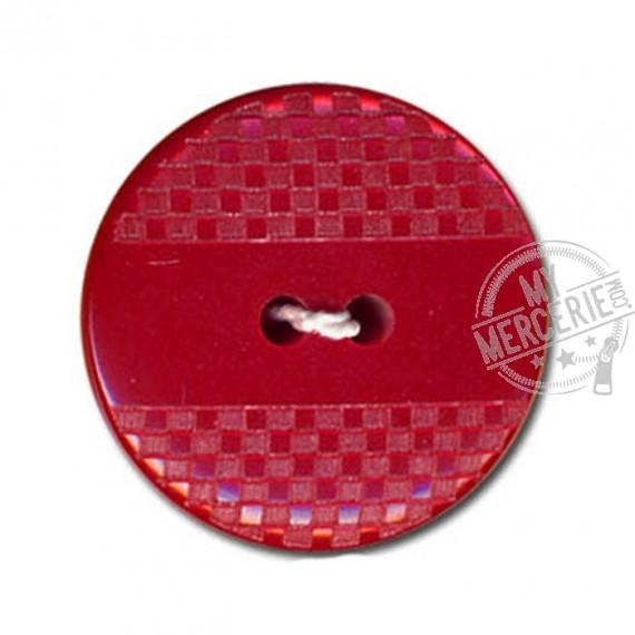 Bouton polyester effet quadrillé et lisse couleur Rouge