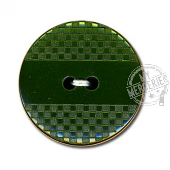 Bouton polyester effet quadrillé et lisse couleur Vert